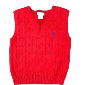POLO V-NECK RED SLEEVELESS SWEATER 24M.